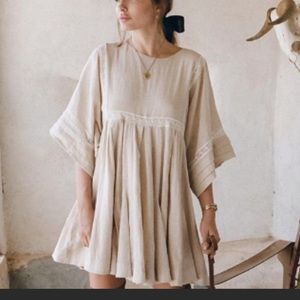 NWT Spell Paloma Mini Dress in Neutral Sz L